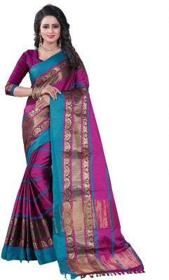 Bombey Velvat Fab Self Design Kanjivaram Cotton Silk, Jacquard, Cotton, Silk Saree(Multicolor)