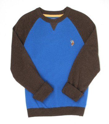 U.S. Polo Assn Solid Round Neck Casual Boys Blue Sweater