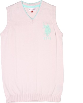 U.S. Polo Assn Solid V-neck Casual Girls Pink Sweater