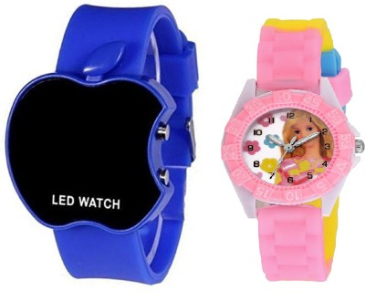 SOOMS BLUE APPLE LED BOYS WATCH WITH DESINGER AND FANCY BARBIE CARTOON PRINTED ON TINNY DIAL KIDS & CHILDREN Watch  - For Boys & Girls