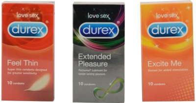 Durex Love Sex | Honeymoon Triple Combo | Discreet Gift-wrapped Condom(Set of 3, 30S)  available at flipkart for Rs.455