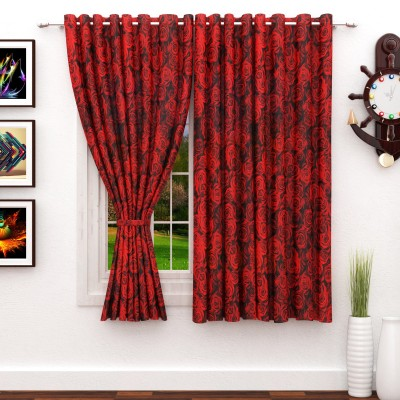 Story@Home 152 cm (5 ft) Polyester Window Curtain (Pack Of 2)(Floral, Pink) at flipkart