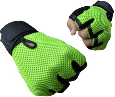 Alaska New Heavy leather Netted With Wrist Support Gym & Fitness Gloves (Free Size, Green)  available at flipkart for Rs.99