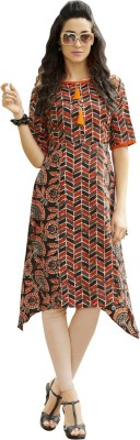 Ayan Printed Women Flared Kurta(Brown, Beige)