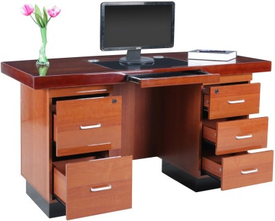 RoyalOak Retro Engineered Wood Computer Desk Straight, Finish Color   Honey Brown RoyalOak Office Study Table