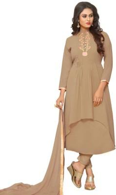 Ap Enterprise Georgette Solid Semi-stitched Salwar Suit Dupatta Material