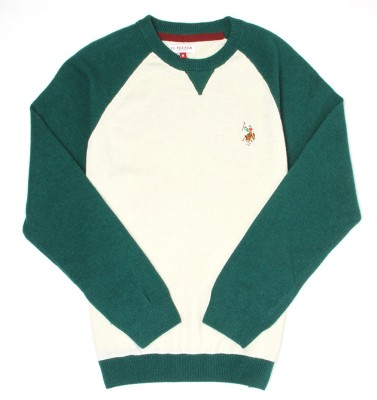 U.S. Polo Assn Solid Round Neck Casual Boys Green Sweater