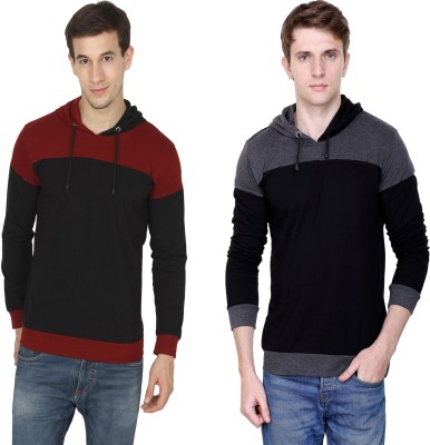 Fabstone Collection Color block Men Hooded Maroon, Grey T-Shirt(Pack of 2)