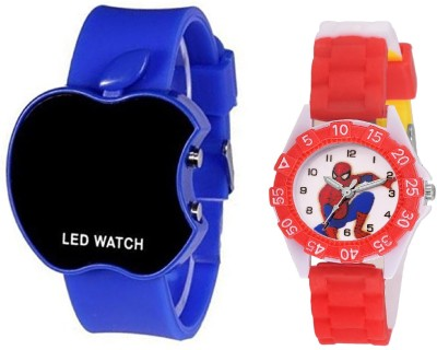 SOOMS BLUE APPLE LED BOYS WATCH WITH DESINGER AND FANCY SPIDER-MAN CARTOON PRINTED ON TINNY DIAL KIDS & CHILDREN Watch  - For Boys & Girls