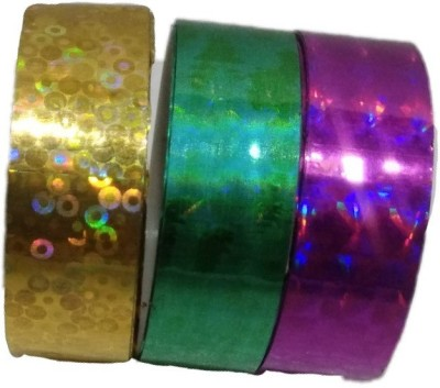 Shreeji Decoration Golden,Green,Pink 3D Hand Glitter Small Tape For Art & Craft,Decoration,School Projects,Festivals,Cutlery Packing,Office  available at flipkart for Rs.75