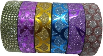 Shreeji Decoration 6 Pieces Multi Design Glitter Tape For Art & Craft,Decoration,School Projects,Festivals,cutlery Packing,Office  available at flipkart for Rs.89