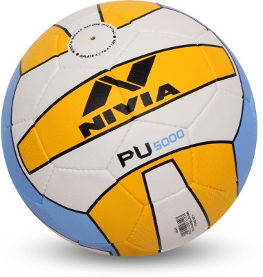 Nivia PU - 5000 Volleyball - Size: 4(Pack of 1, White, Yellow, Blue)  available at flipkart for Rs.489