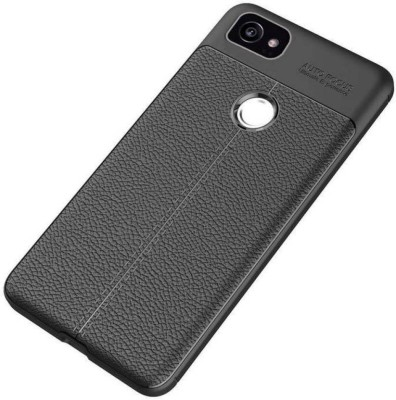 MODIK Back Cover for Google Pixel 2 Soft SiliCon Leather Pattern TPU Flexible Auto Focus Shock Proof Back Cover {Black}(Black, Shock Proof)