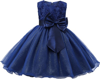 GOODY`S Girls Midi/Knee Length Party Dress(Blue, Sleeveless)