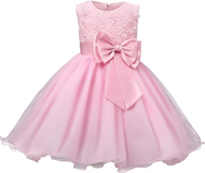 GOODY`S Girls Midi/Knee Length Party Dress(Pink, Sleeveless)