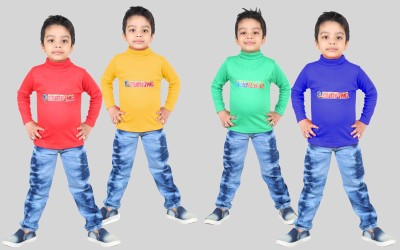 DEBDESHIK Boys Printed Cotton Silk Blend T Shirt(Multicolor, Pack of 4)  available at flipkart for Rs.549