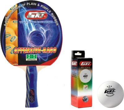 GKI Offensive Rago Table Tennis Combo Set (Offensive Rago Table Tennis Racquet + Premium 3 Star 40 TT Ball, Box of 3 - White) Table Tennis Kit  available at flipkart for Rs.1399