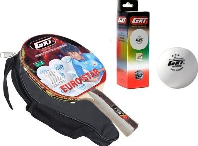 GKI Euro Star Table Tennis Combo Set (Euro Star Table Tennis Racquet + Premium 3 Star 40 Table Tennis Ball, Box of 3 - White) Table Tennis Kit  available at flipkart for Rs.1799