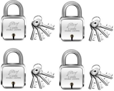 Godrej square lock 6 levers (4 keys) pack of 4 Padlock(Silver)
