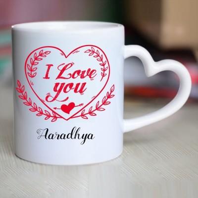 Huppme Happy Birthday Aaradhya Inner Red Coffee name mug Ceramic Mug(350 ml)