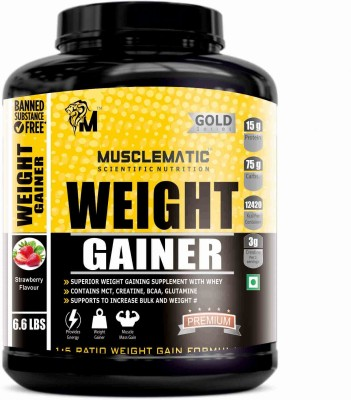 Musclematic Weight Gainers(3 kg, strawberry)