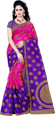 Kara Embellished, Polka Print Bhagalpuri Cotton, Cotton Linen Blend, Silk Cotton Blend Saree(Pink)