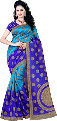 Kara Printed Bhagalpuri Cotton, Cotton Linen Blend, Silk Cotton Blend Saree(Dark Blue, Light Blue)
