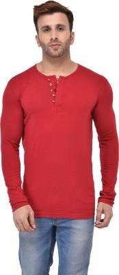 Jockey Solid Men Henley Red T-Shirt