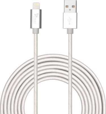 Syska High Speed Nylon Braided Apple Certified 1.5 m Lightning Cable Compatible with Data Sync   Charging, Silver, One Cable Syska Mobile Cables
