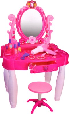 Sunshine Gifting Big Size Musical Beauty Table and Chair with Music, Lights and Working Blower(Pink)  available at flipkart for Rs.1999