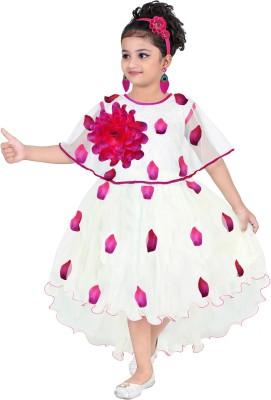 KAARIGARI Girls Midi/Knee Length Party Dress(White, Fashion Sleeve)