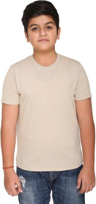 HARBOR N BAY Boys Solid Cotton T Shirt(Beige, Pack of 1)