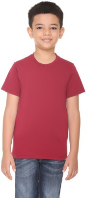 HARBOR N BAY Boys Solid Cotton T Shirt(Maroon, Pack of 1)