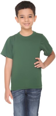 HARBOR N BAY Boys Solid Cotton T Shirt(Green, Pack of 1)