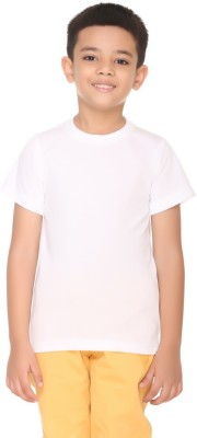 HARBOR N BAY Boys Solid Cotton T Shirt(White, Pack of 1)