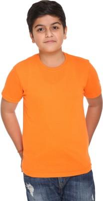 HARBOR N BAY Boys Solid Cotton T Shirt(Orange, Pack of 1)