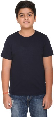 HARBOR N BAY Boys Solid Cotton T Shirt(Dark Blue, Pack of 1)