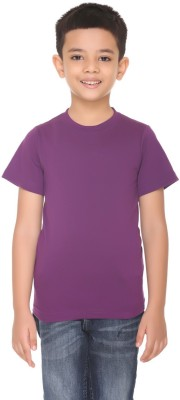 HARBOR N BAY Boys Solid Cotton T Shirt(Purple, Pack of 1)