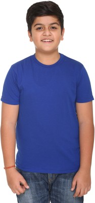 HARBOR N BAY Boys Solid Cotton T Shirt(Blue, Pack of 1)