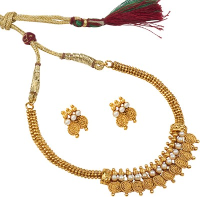 Shining Jewel 24K Jalebi Coin Pearl Yellow Gold Plated Brass Necklace Set  available at flipkart for Rs.398