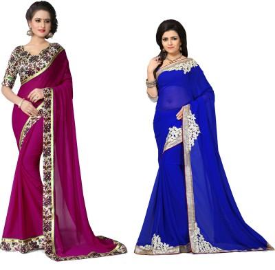 Laddeez Solid, Printed, Embroidered Fashion Georgette, Chiffon Saree(Pack of 2, Blue, Maroon) Flipkart