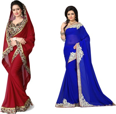Laddeez Solid, Printed, Embroidered Fashion Georgette, Chiffon Saree(Pack of 2, Blue, Red)
