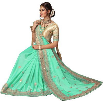 0ddbd0ebb View Nivah Fashion Embroidered Bollywood Satin Saree(Light Green) Price  Online