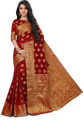 Om Shantam Sarees Woven Banarasi Cotton, Silk, Banarasi Silk, Crepe, Jacquard Saree(Red, Gold)