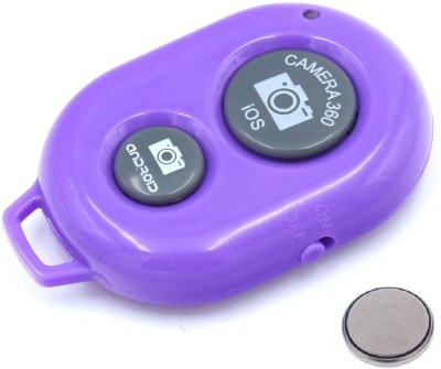 ReTrack Camera Wireless Bluetooth Remote Controler Shutter For Selfie Stick-Tripod-Samrt Phone  Camera Remote Control(Purple)  available at flipkart for Rs.199