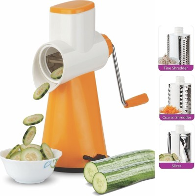 DeoDap Vegetable Grater Mandoline Slicer, Rotary Drum Fruit Cutter Cheese Shredder with 3 Stainless Steel Rotary Blades and Suction Cup Feet (Blue) Plastic Hand Juicer(Blue)  available at flipkart for Rs.485