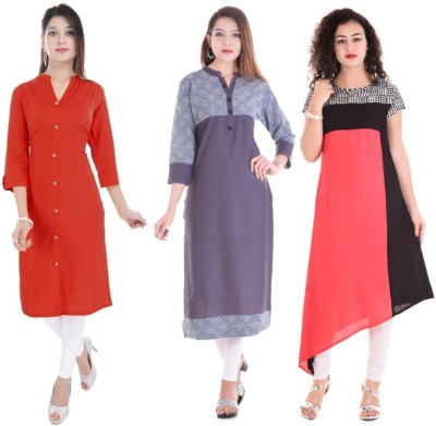Blezza Casual Printed Women Kurti(Pack of 3, Red, Maroon, Pink)