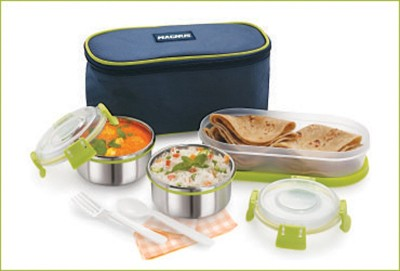 Magnus AVANZA 3 stainless steel Clip lock lunch box,3 containers with spoon 3 Containers Lunch Box(900 ml)