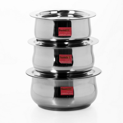 Sumeet 3 Pcs Stainless Steel Induction & Gas Stove Friendly Belly Shape Container Set / Tope / Cookware Set With Lids Size No.10 to No.12 Pot 2.1 L(Stainless Steel)  available at flipkart for Rs.799