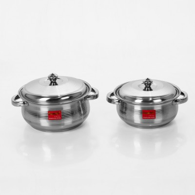 Sumeet 2 Pcs Stainless Steel Induction & Gas Stove Friendly Belly Shape Container Set / Handi Set / Cookware Set With Lids Size No.10 & No.11 Pot 1.25 L(Stainless Steel)  available at flipkart for Rs.539